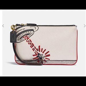 Coach Disney spaceship glitter wallet wristlet